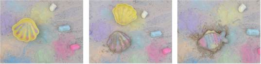 childrens art with sand and sidewalk chalk