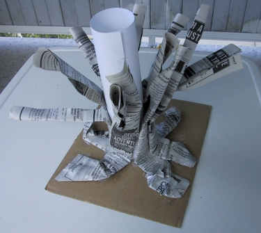 branches on childrens craft to make paper mache tree