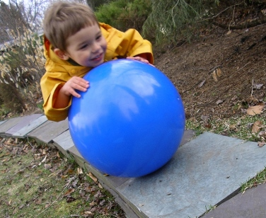 big blue ball as gift for young child